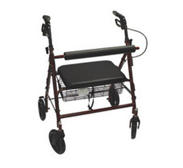 """* Flip up curved padded backrest * Loop-lock hand brakes * Color: Availabe in Burgundy or Blue * Handle Height Adjustment : 32""""-36"""" * Width Between Handles: 17.5"""" * Seat Dimension: 12""""x12"""" * Basket Dimension: 14""""x8""""x4"""" * Seat Height: 20.5"""" * Wheel"""